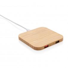 Док-станция для беспроводной зарядки Bamboo с портами USB, 5 Вт