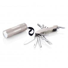 Набор Quatro: мультитул и фонарик, серебряный