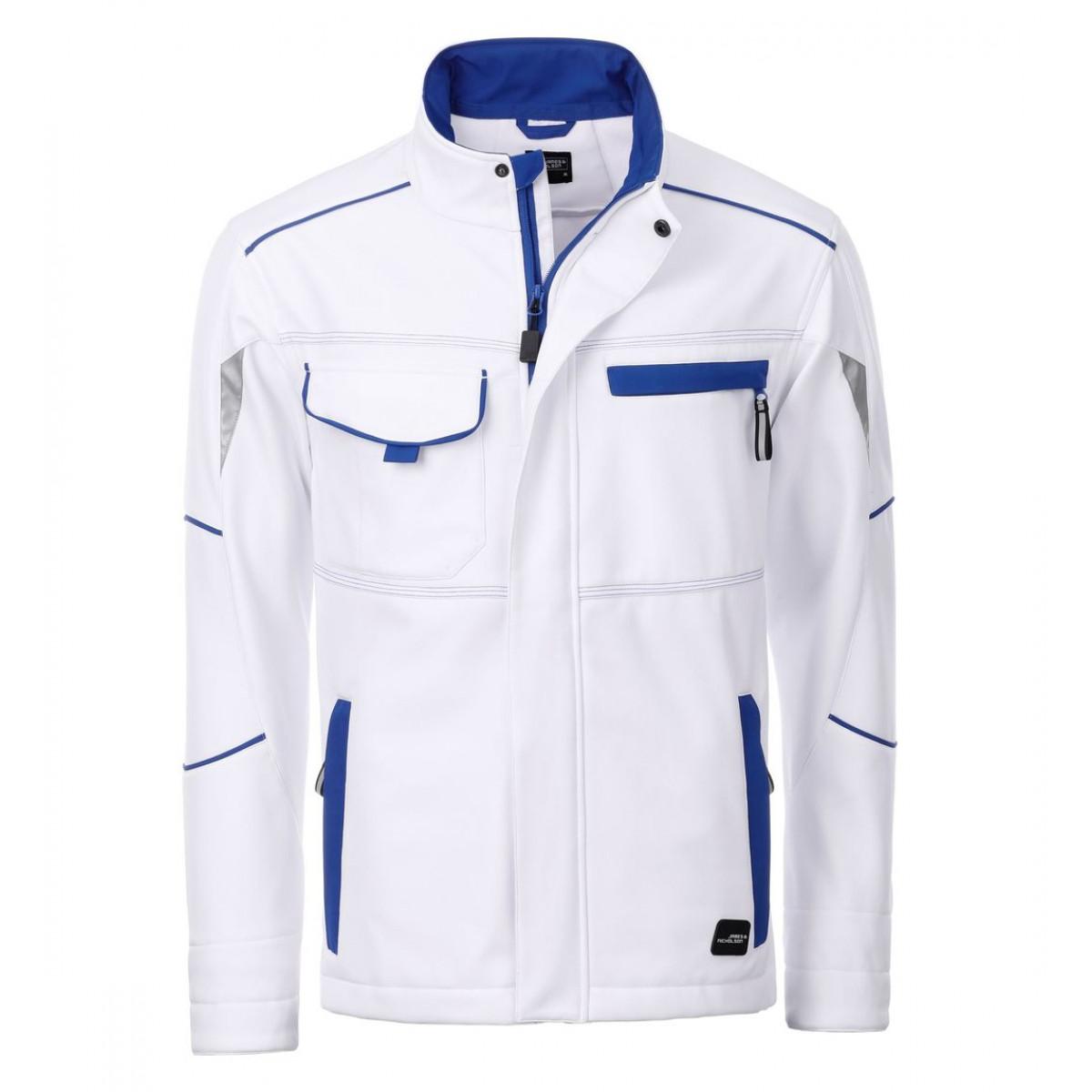 Куртка мужская JN851 Workwear Softshell Jacket-Level 2 - Белый/Ярко-синий