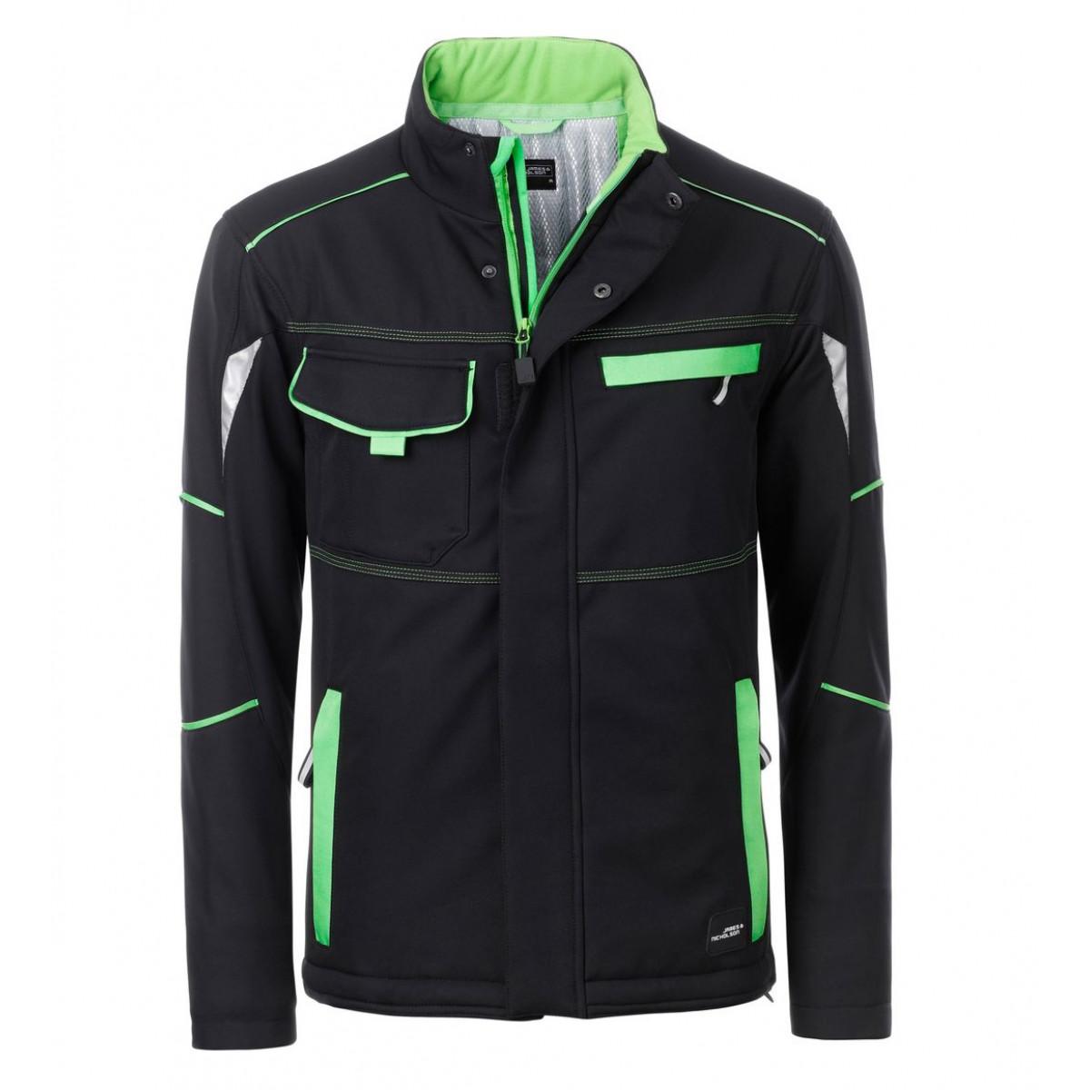 Куртка мужская JN853 Workwear Softshell Padded Jacket-Level 2 - Черный/Лайм