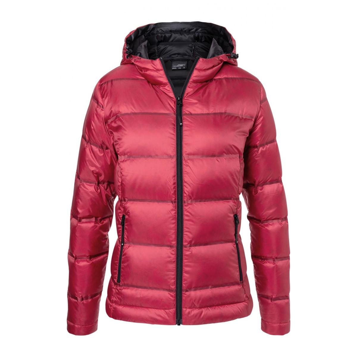 Куртка женская JN1151 Ladies Hooded Down Jacket - Красный/Черный