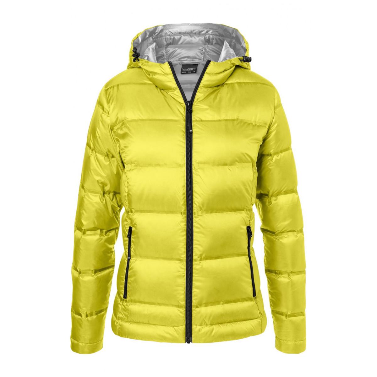 Куртка женская JN1151 Ladies Hooded Down Jacket - Желтый/Серебряный