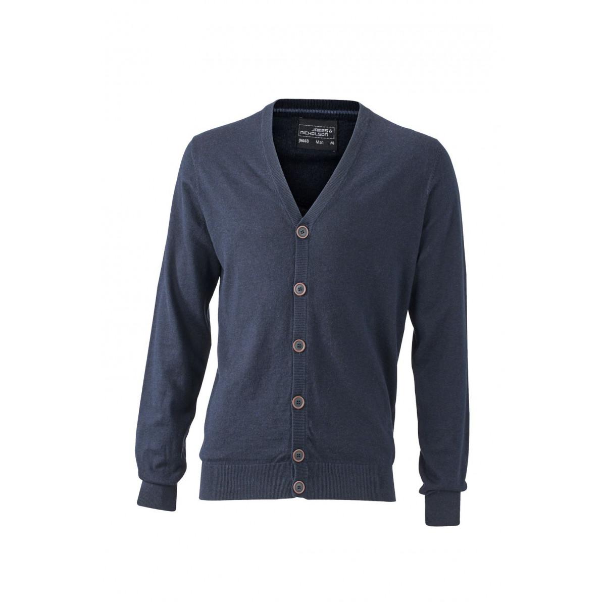 Кардиган мужской JN668 Mens Cardigan - Темно-синий меланж