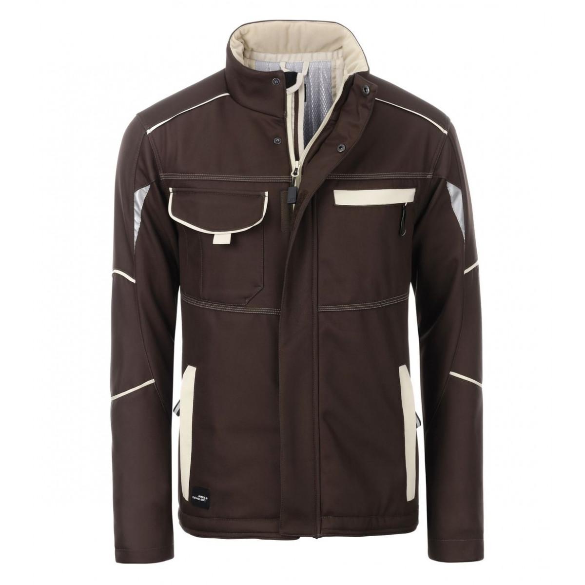 Куртка мужская JN853 Workwear Softshell Padded Jacket-Level 2 - Коричневый/Бежевый