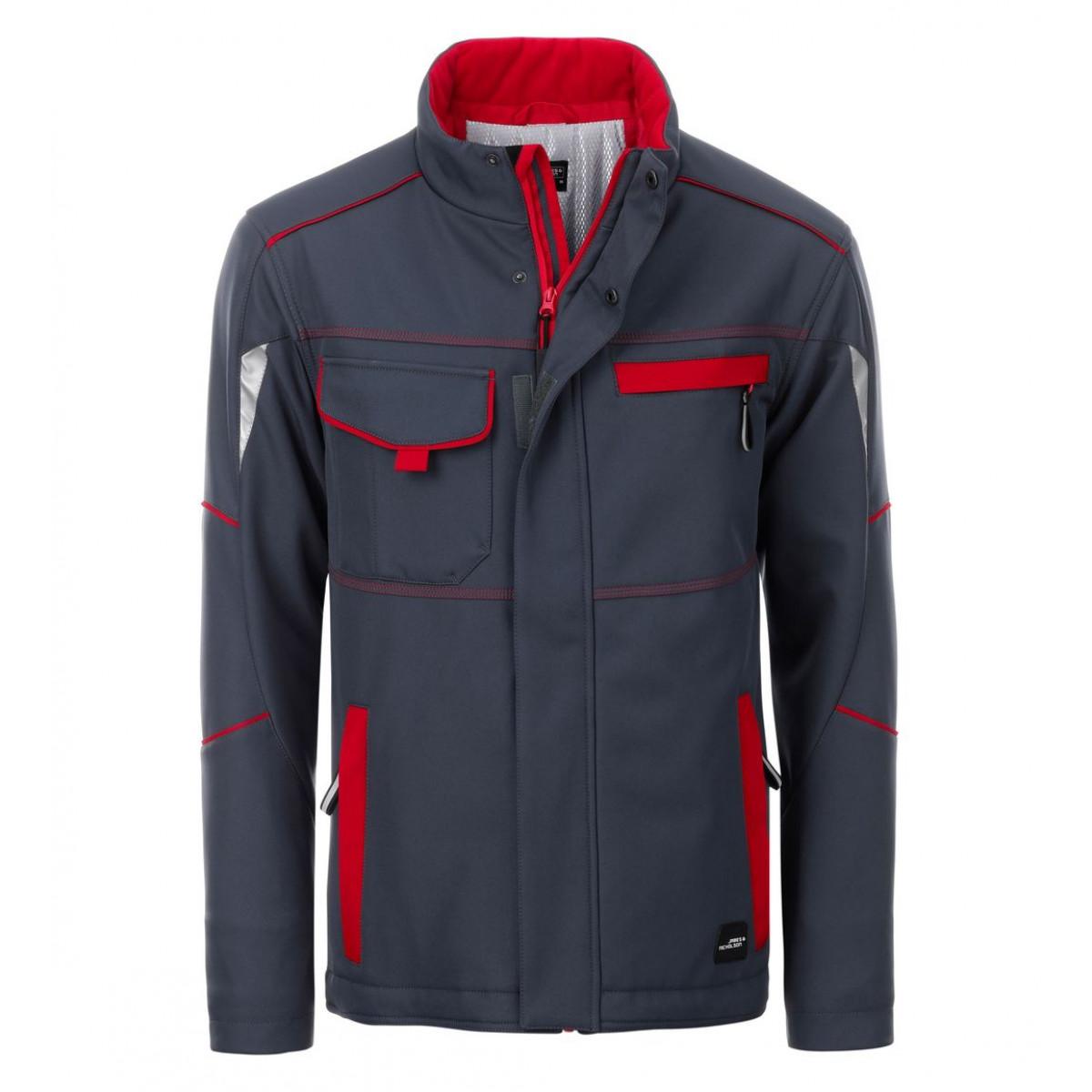 Куртка мужская JN853 Workwear Softshell Padded Jacket-Level 2 - Темно-серый/Красный