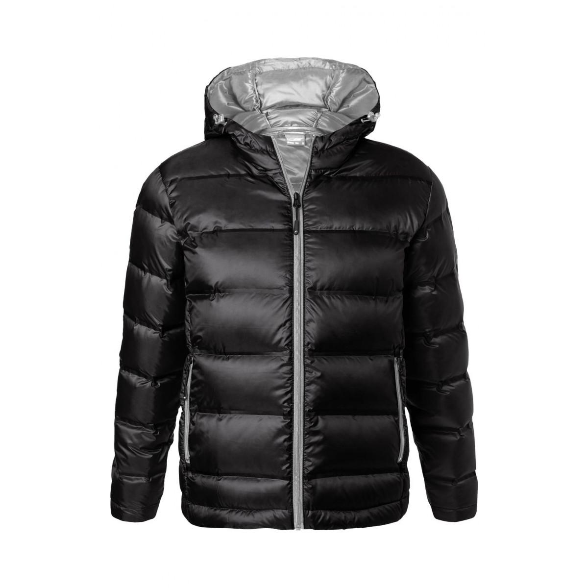 Куртка мужская JN1152 Mens Hooded Down Jacket - Черный/Серебряный