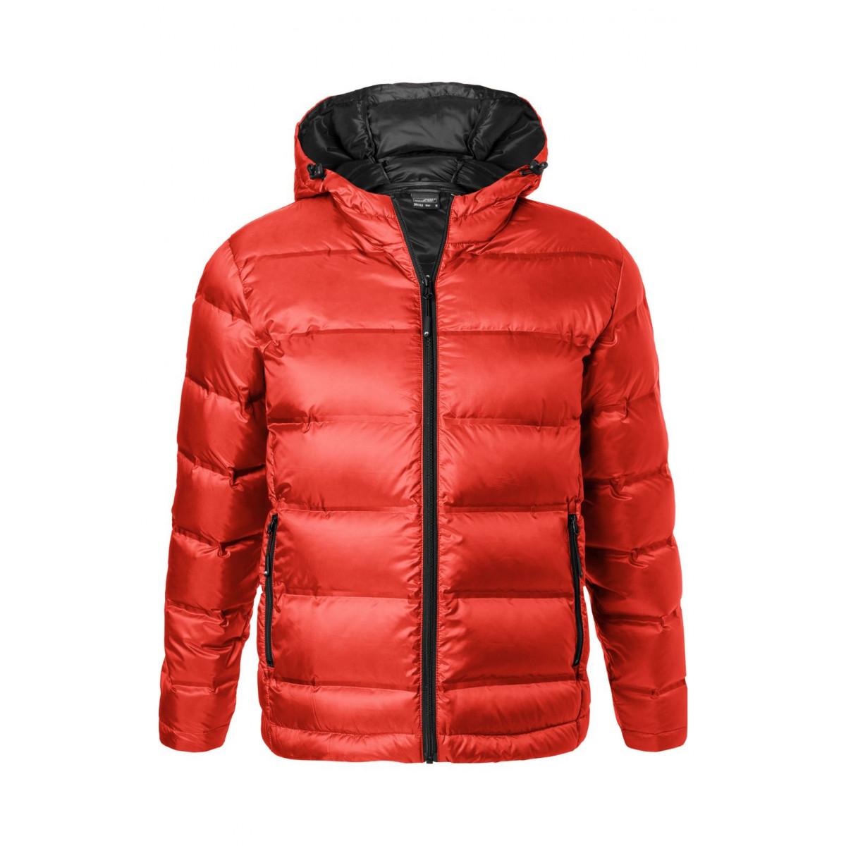 Куртка мужская JN1152 Mens Hooded Down Jacket - Ярко-красный/Черный