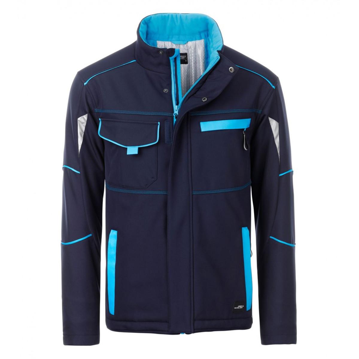 Куртка мужская JN853 Workwear Softshell Padded Jacket-Level 2 - Темно-синий/Бирюзовый