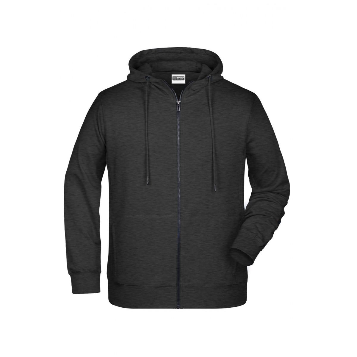 Толстовка мужская 8026 Mens Zip Hoody - Черный меланж