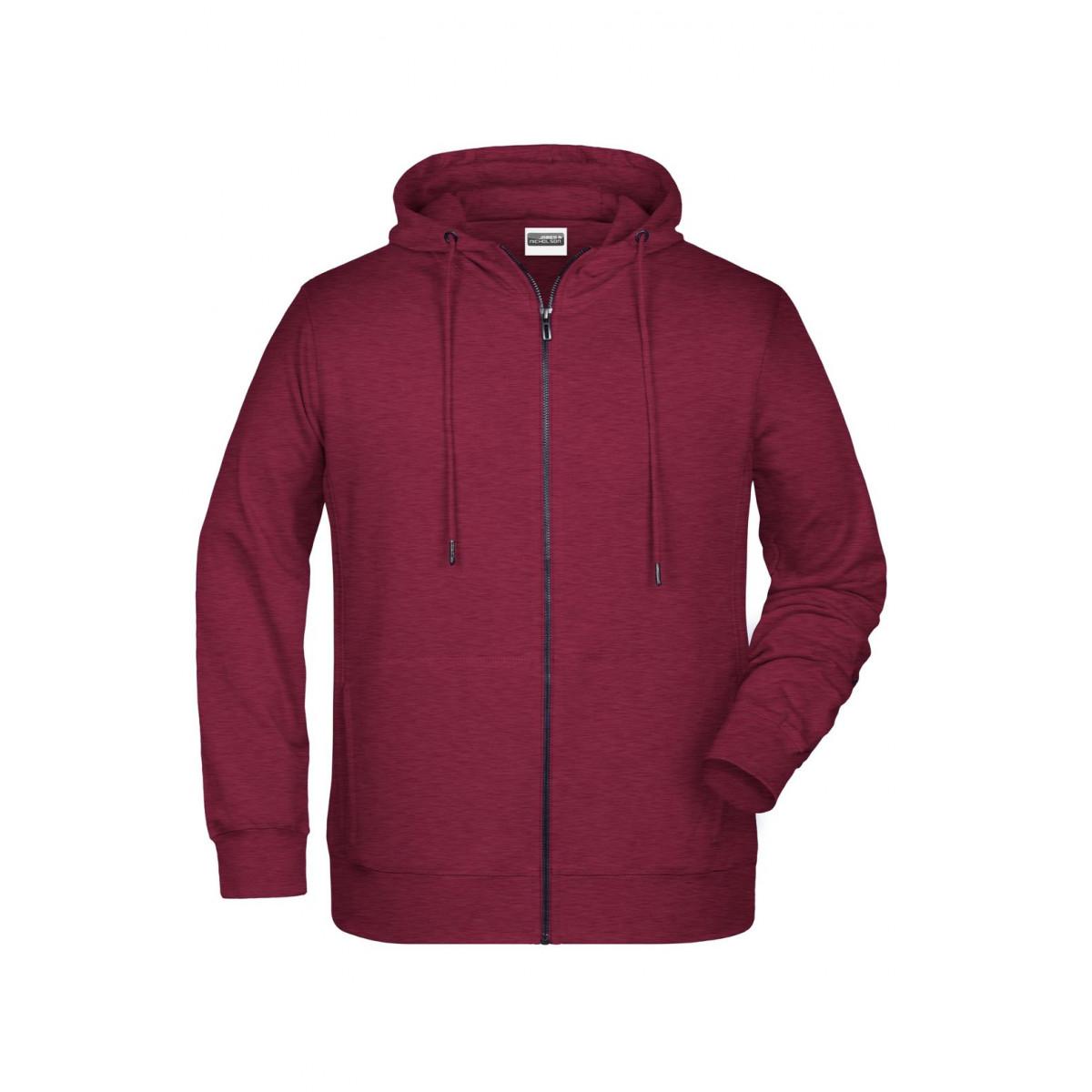 Толстовка мужская 8026 Mens Zip Hoody - Бордовый меланж