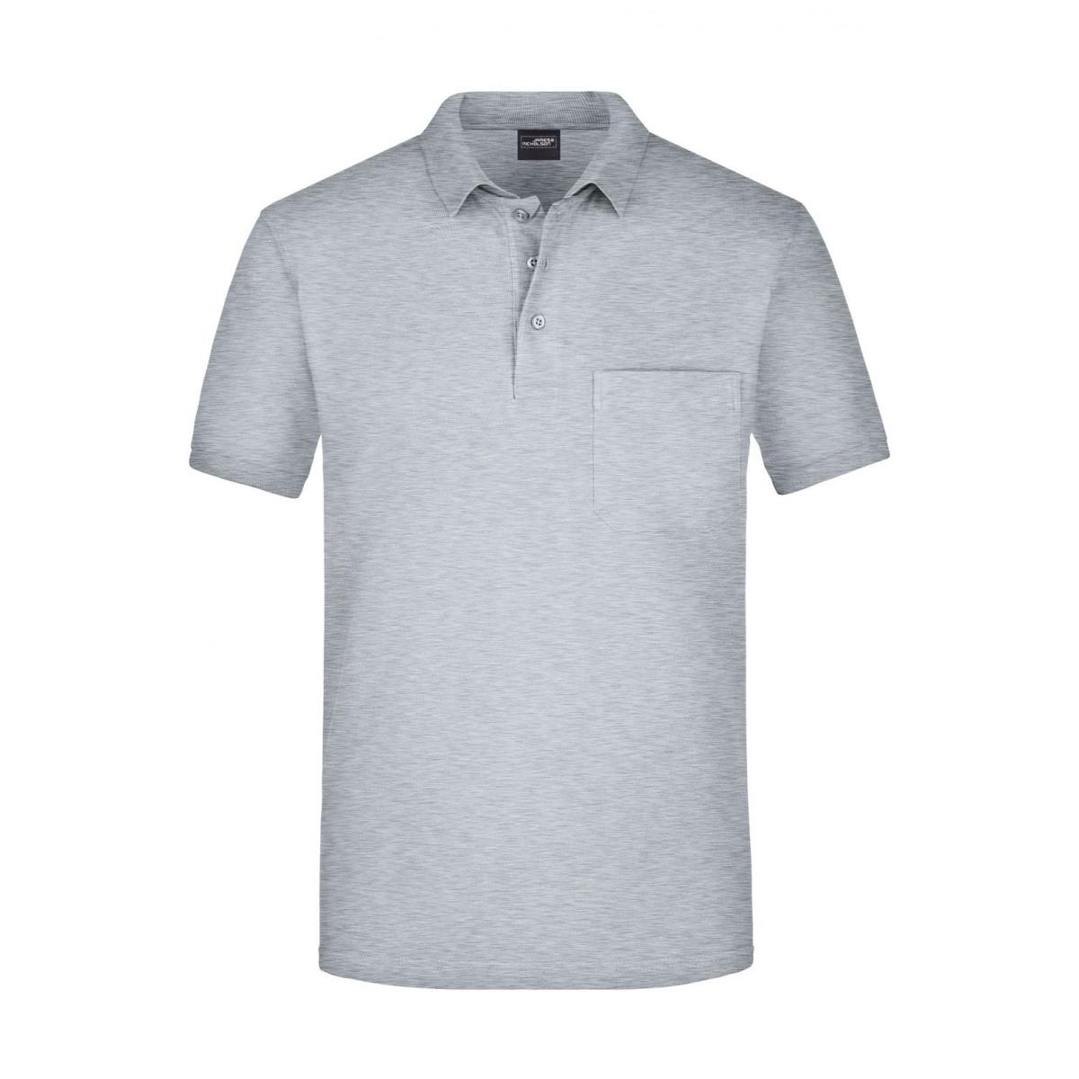 Рубашка поло мужская JN922 Mens Polo Pocket - Серый меланж