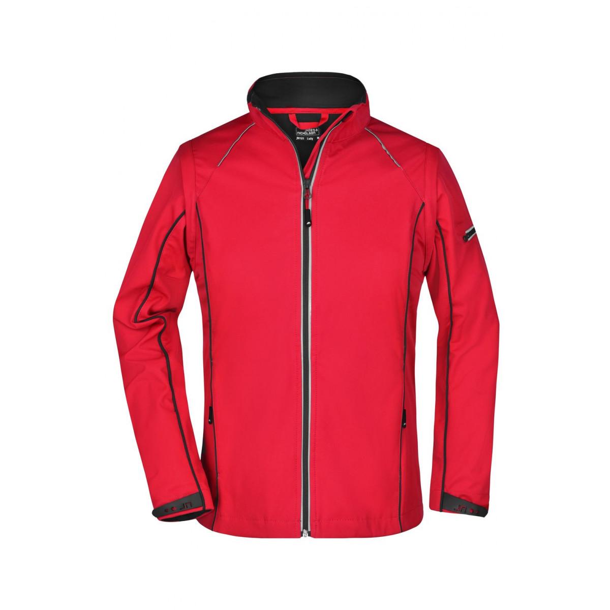 Куртка женская JN1121 Ladies Zip-Off Softshell Jacket - Красный/Черный
