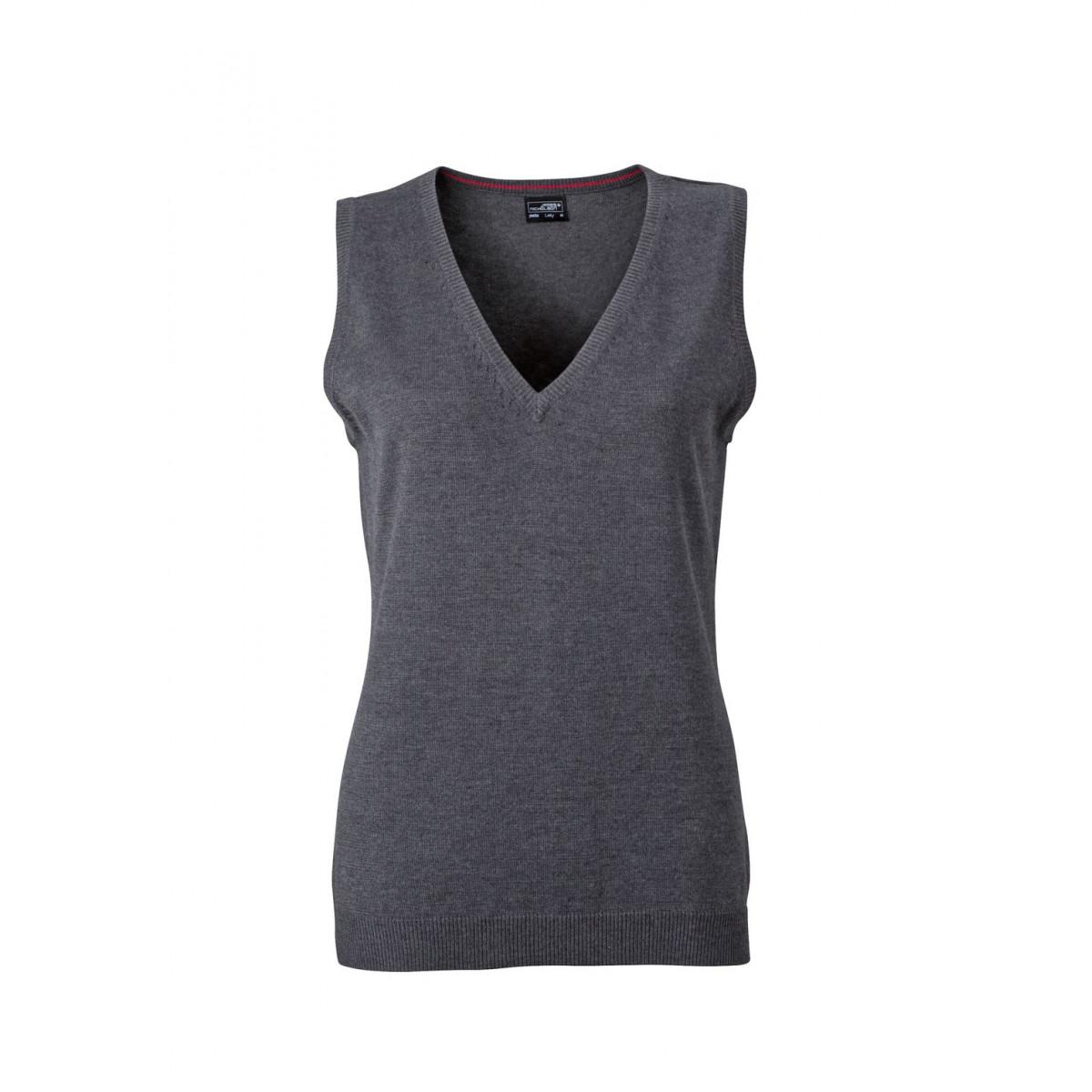 Жилет вязаный женский JN656 Ladies V-Neck Pullunder - Темно-серый меланж
