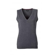 Жилет вязаный женский JN656 Ladies' V-Neck Pullunder - Темно-серый меланж