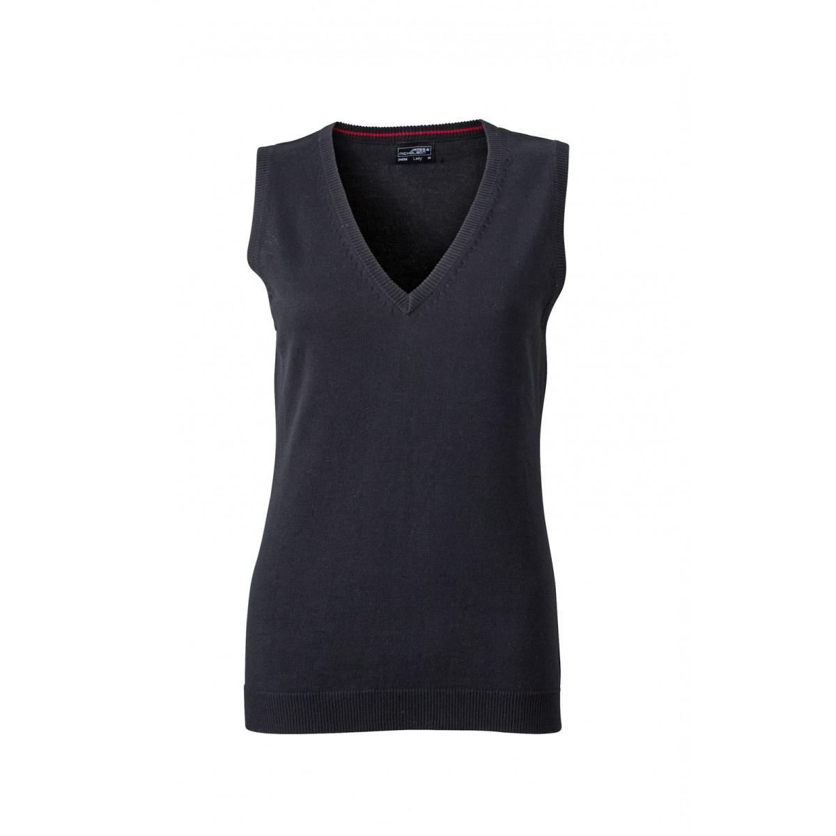 Жилет вязаный женский JN656 Ladies V-Neck Pullunder - Черный