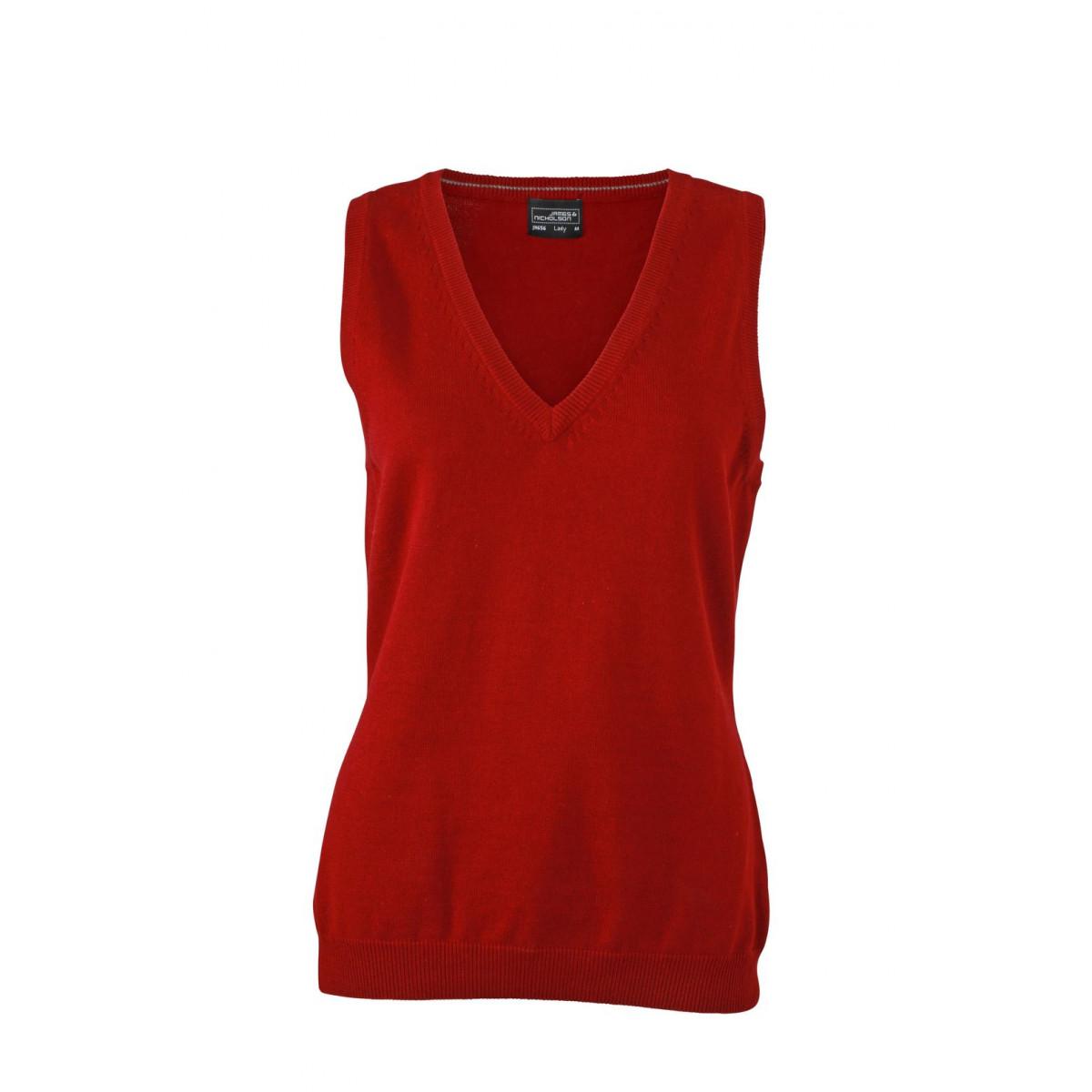 Жилет вязаный женский JN656 Ladies V-Neck Pullunder - Бордовый