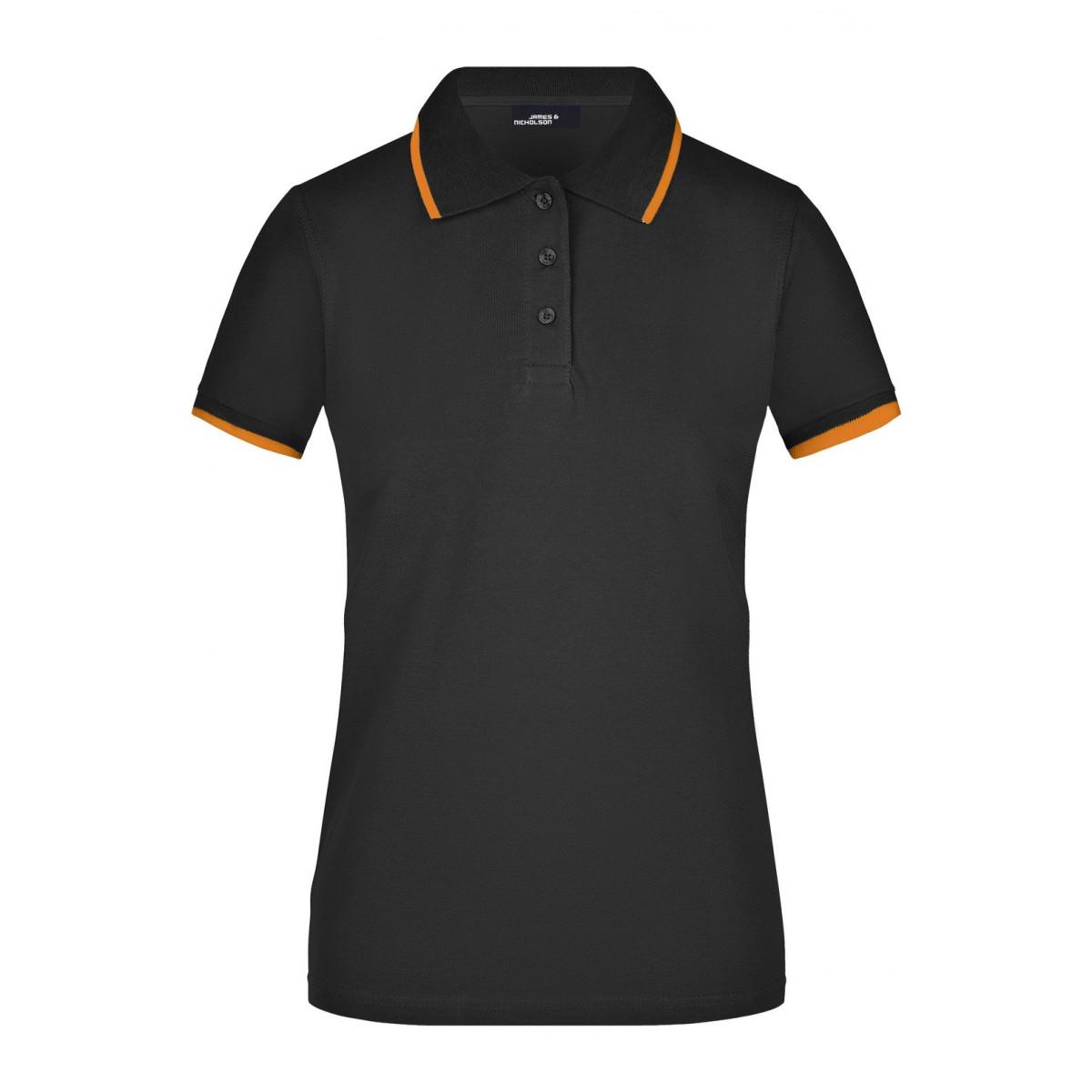 Рубашка поло женская JN934 Ladies Polo Tipping - Черный/Оранжевый
