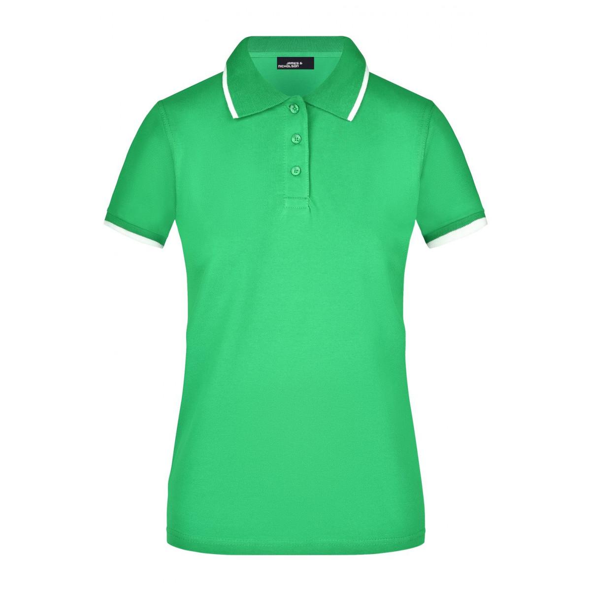 Рубашка поло женская JN934 Ladies Polo Tipping - Насыщенный зеленый/Белый