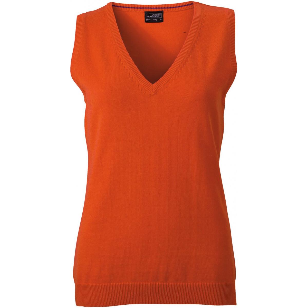 Жилет вязаный женский JN656 Ladies V-Neck Pullunder - Темно-оранжевый