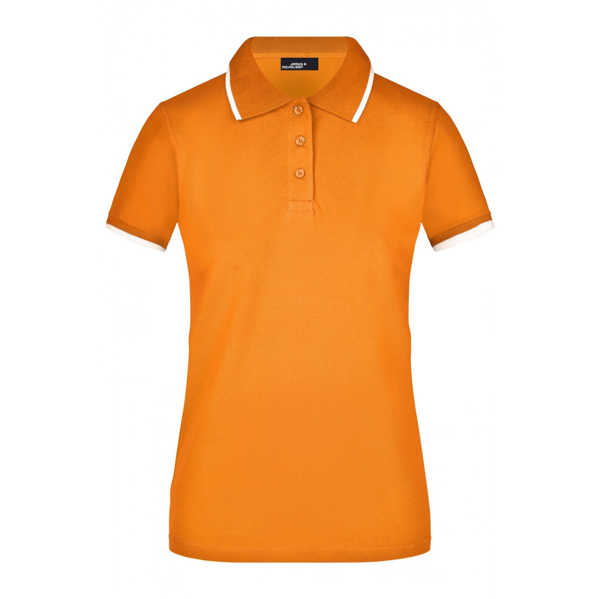 Рубашка поло женская JN934 Ladies Polo Tipping - Оранжевый-Белый