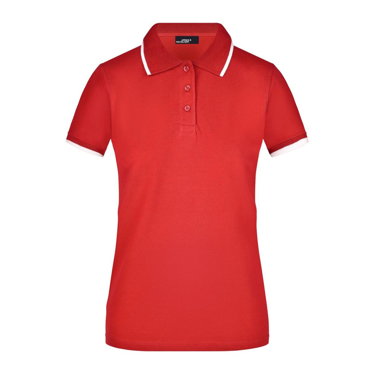 Рубашка поло женская JN934 Ladies Polo Tipping - Красный/Белый