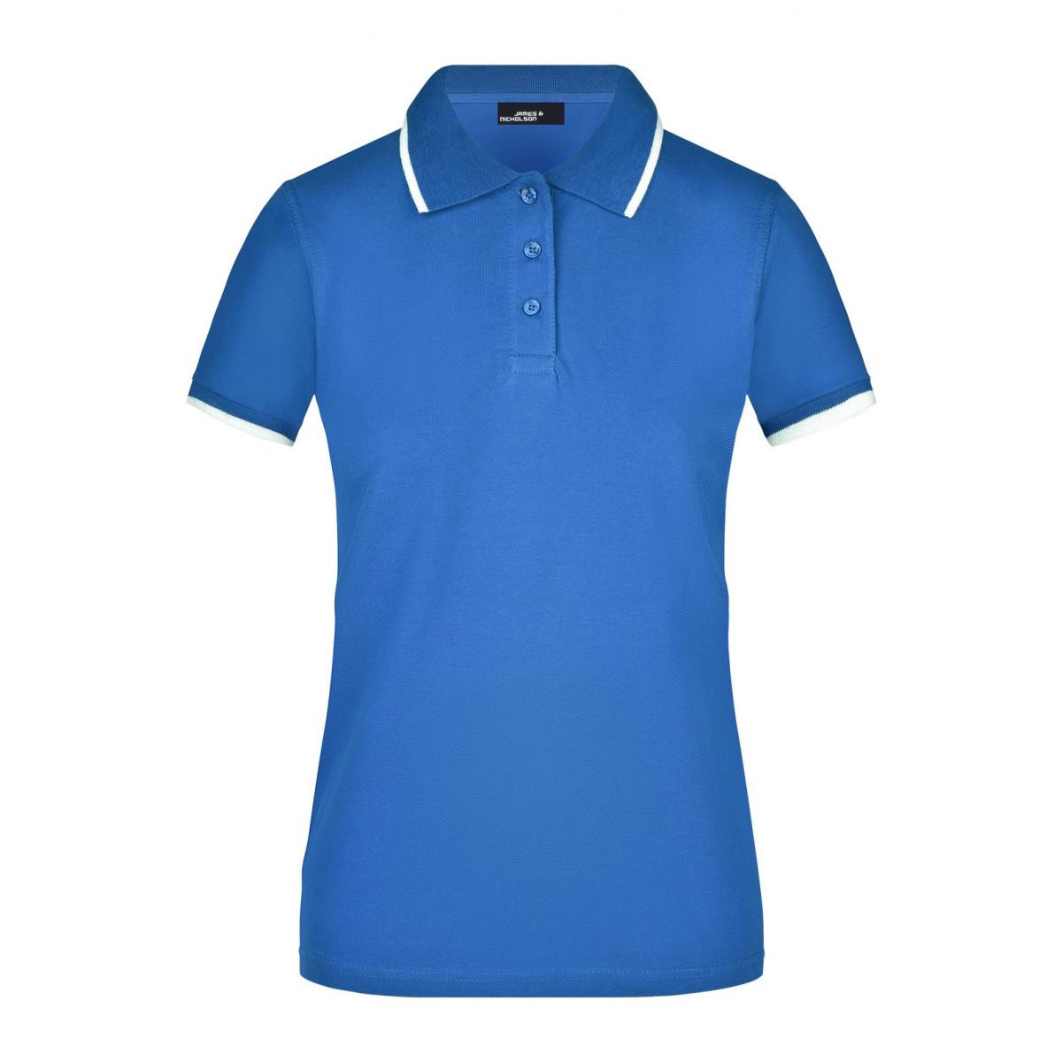 Рубашка поло женская JN934 Ladies Polo Tipping - Ярко-синий/Белый