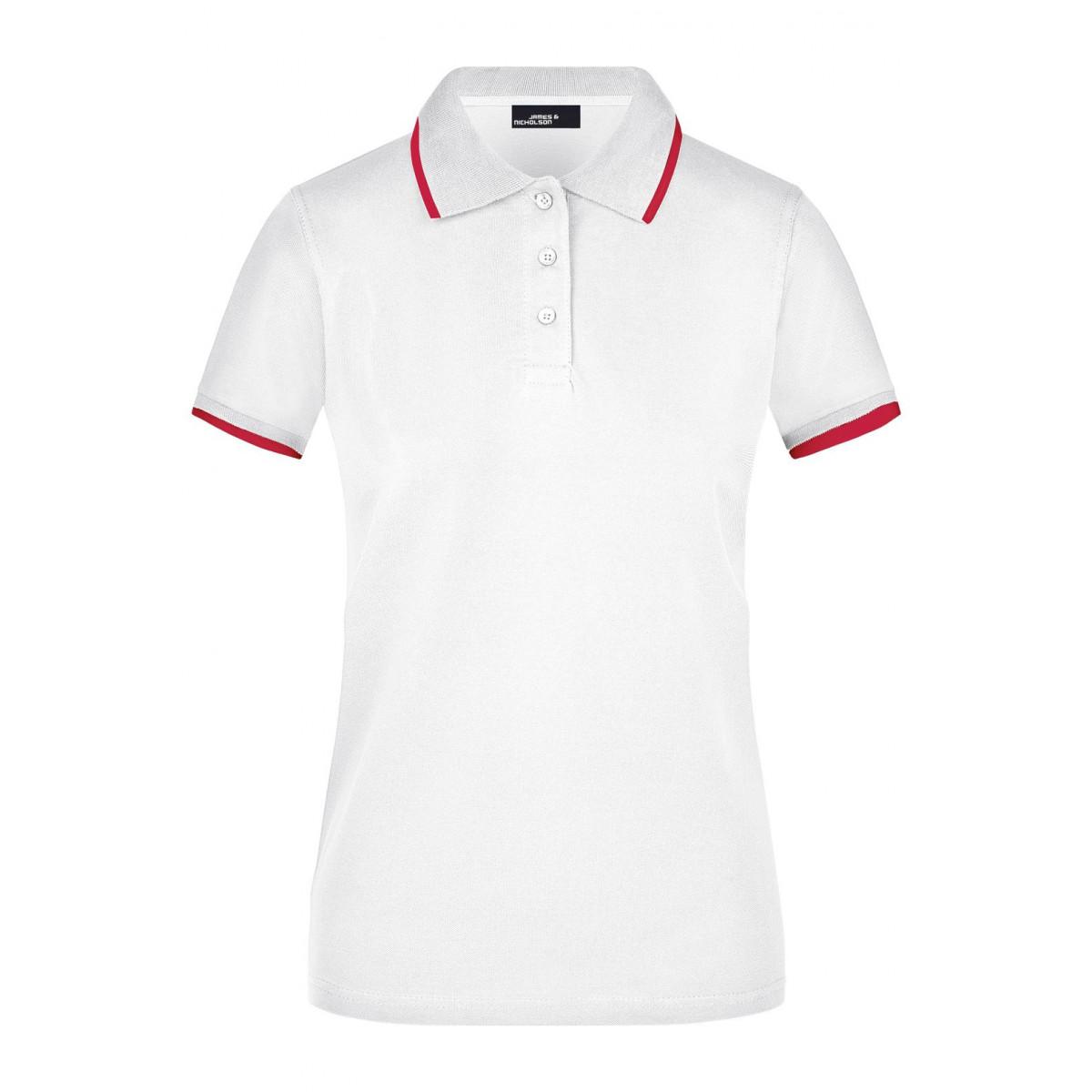 Рубашка поло женская JN934 Ladies Polo Tipping - Белый/Красный