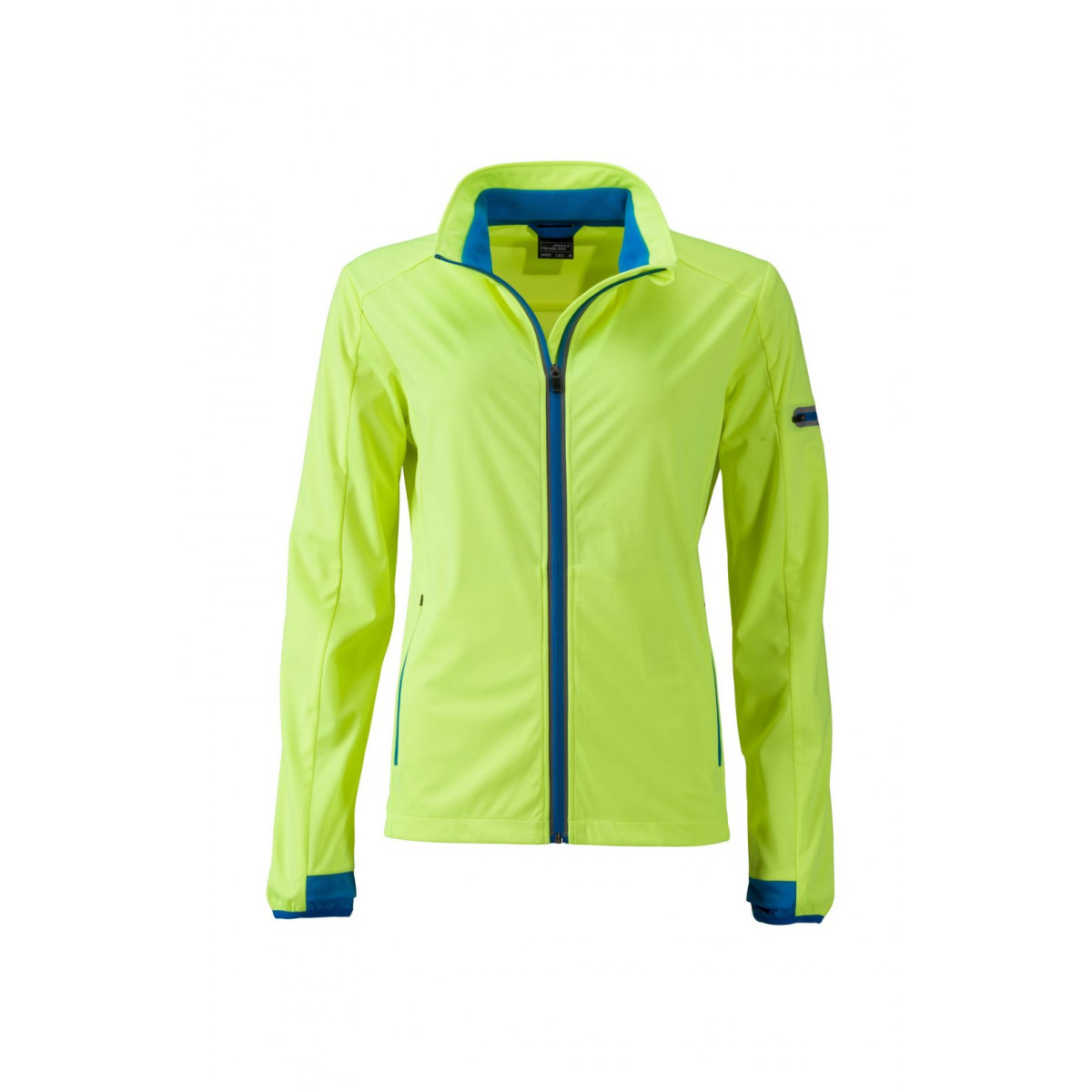 Куртка женская JN1125 Ladies Sports Softshell Jacket - Ярко-желтый/Ярко-синий
