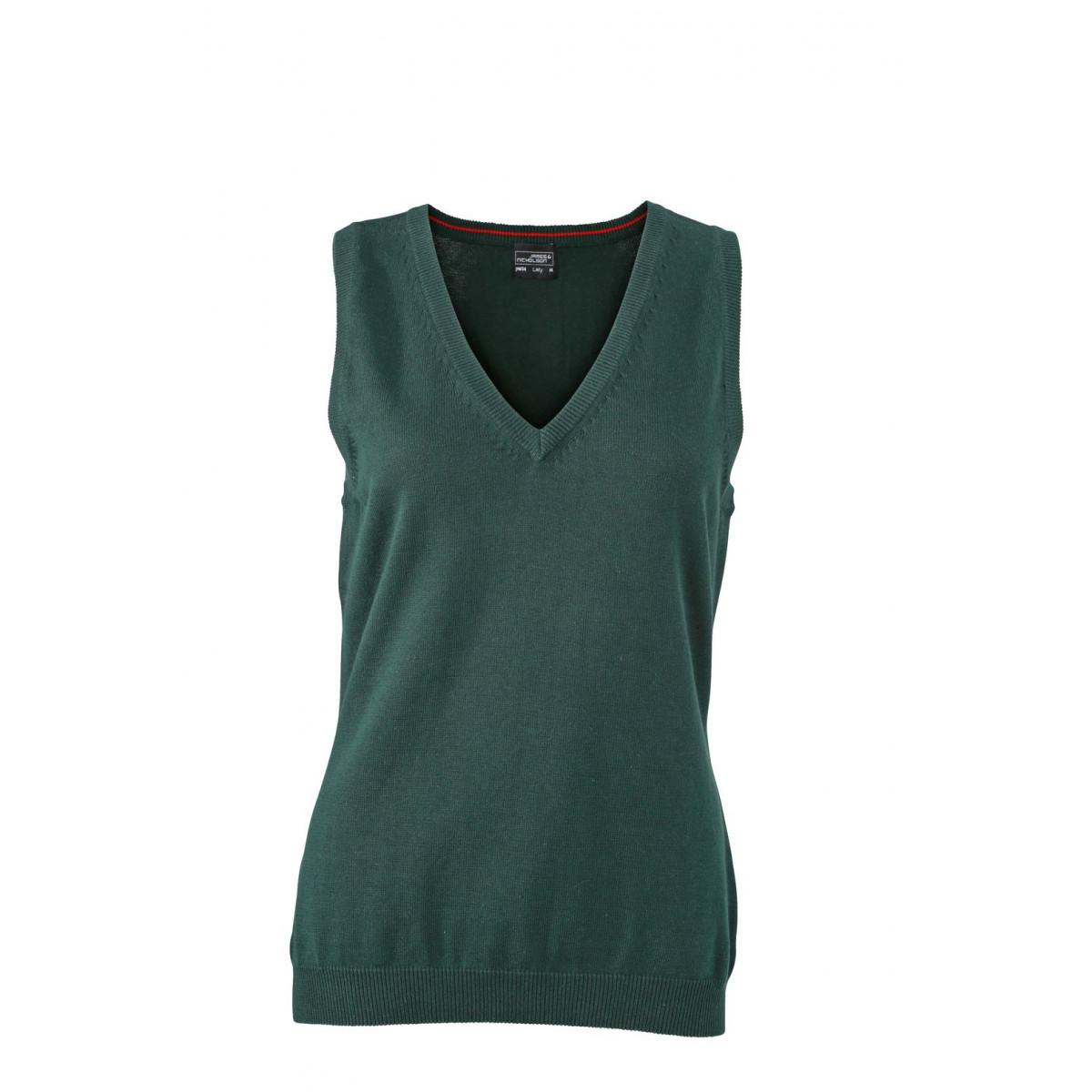 Жилет вязаный женский JN656 Ladies V-Neck Pullunder - Темно-зеленый
