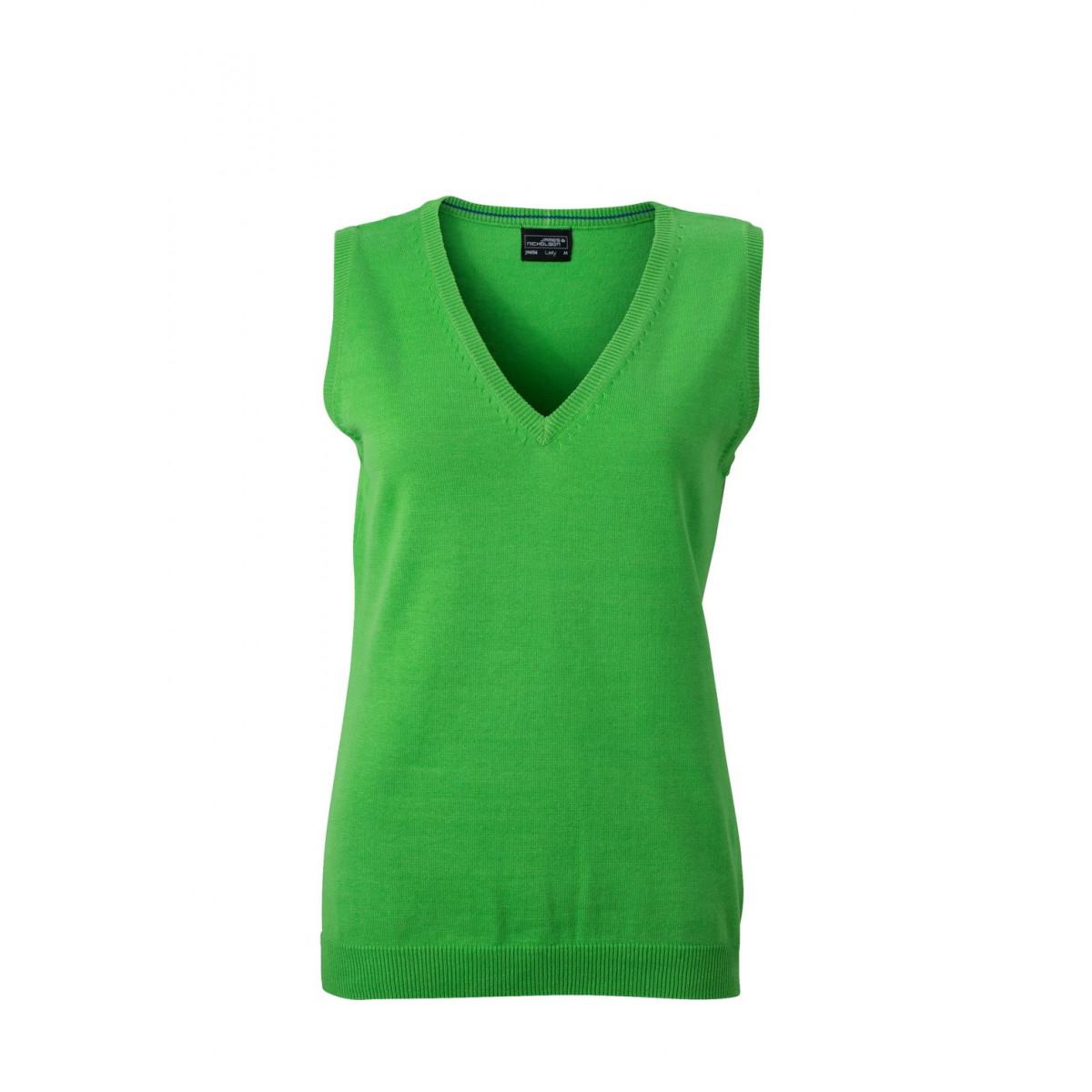 Жилет вязаный женский JN656 Ladies V-Neck Pullunder - Насыщенный зеленый