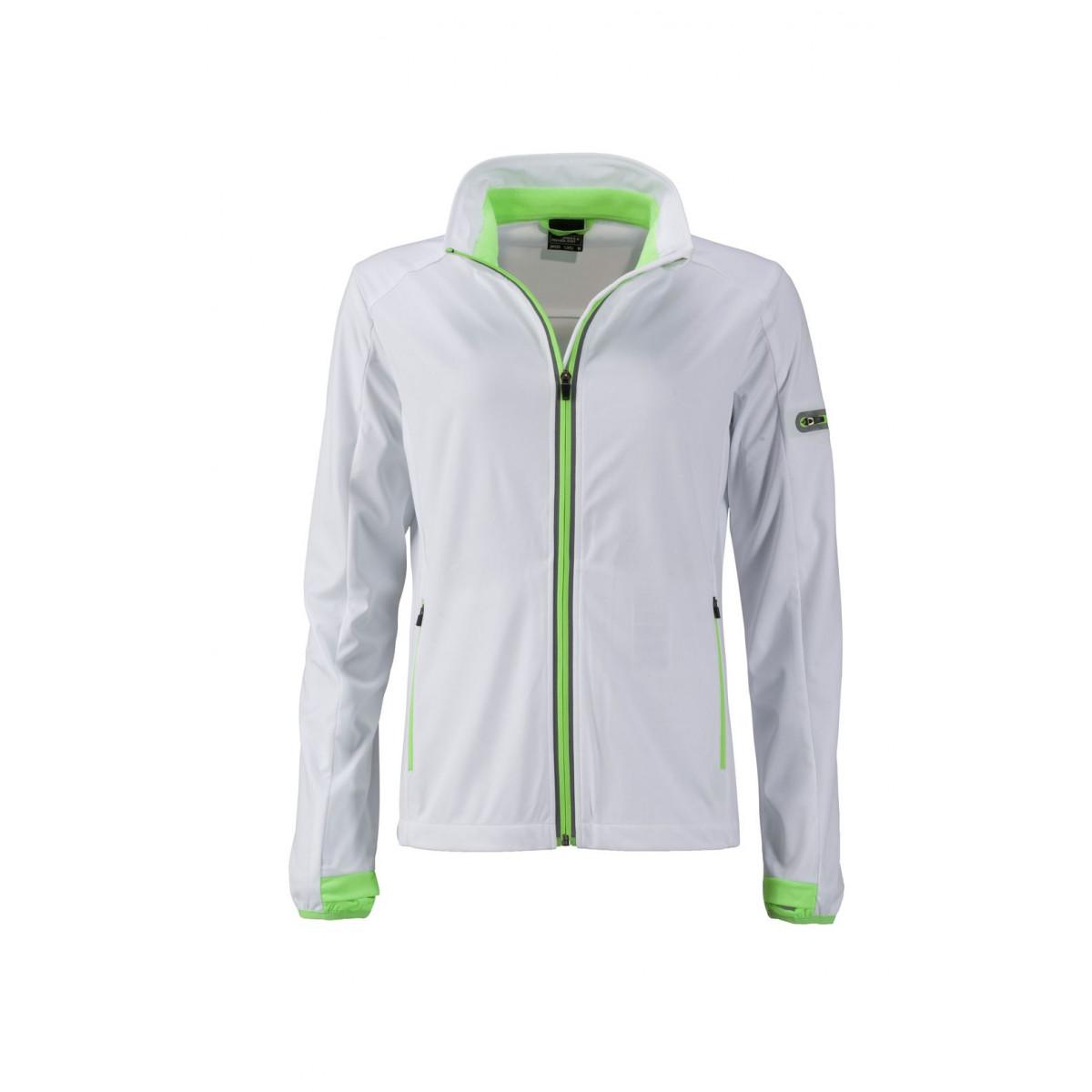 Куртка женская JN1125 Ladies Sports Softshell Jacket - Белый/Ярко-зеленый