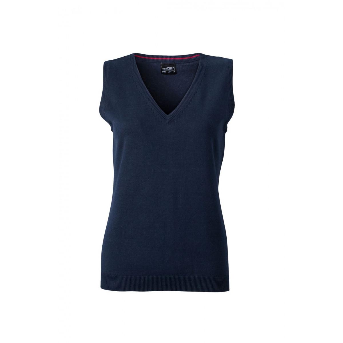 Жилет вязаный женский JN656 Ladies V-Neck Pullunder - Темно-синий