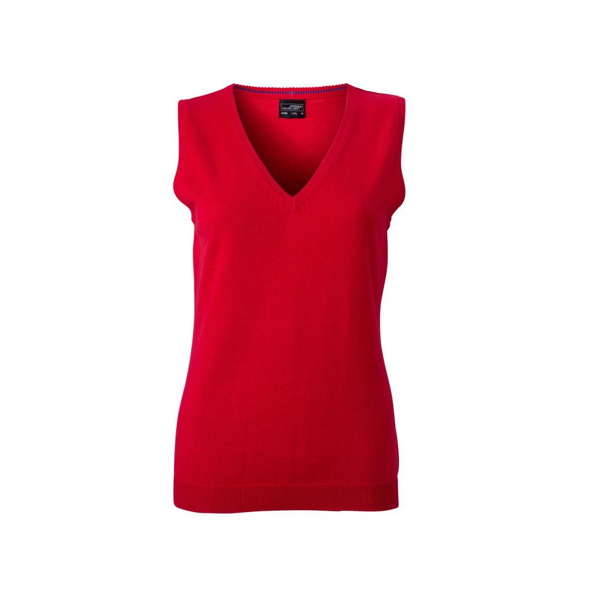 Жилет вязаный женский JN656 Ladies V-Neck Pullunder - Красный