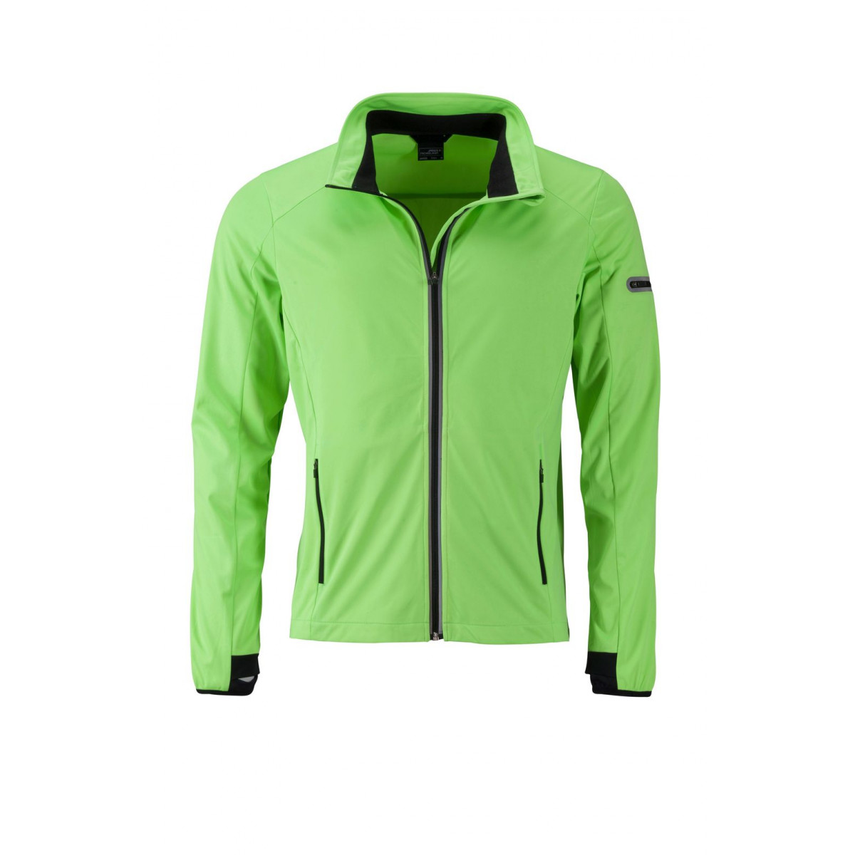 Куртка мужская JN1126 Mens Sports Softshell Jacket - Ярко-зеленый/Черный