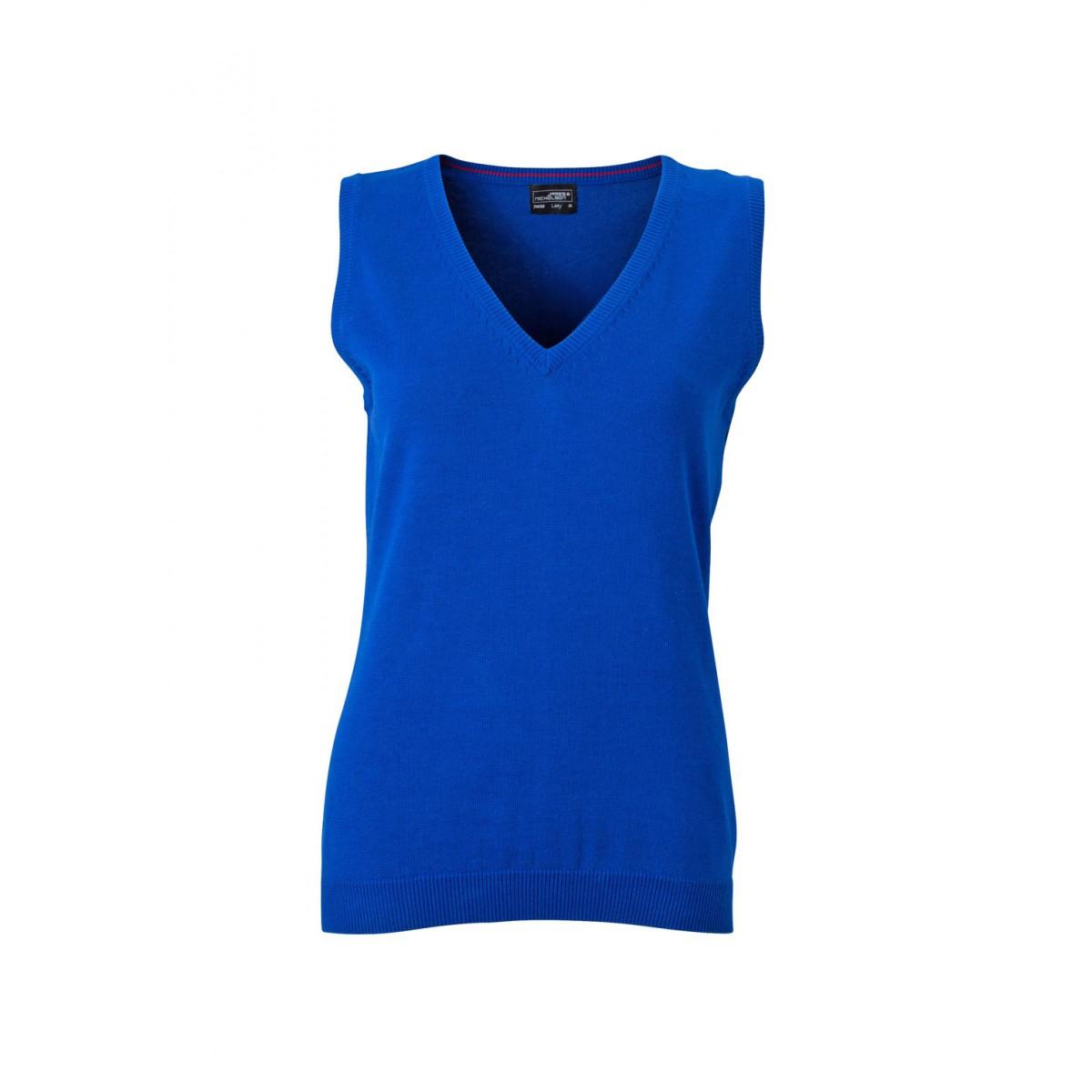 Жилет вязаный женский JN656 Ladies V-Neck Pullunder - Ярко-синий