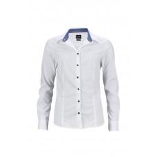 """Рубашка женская JN647 Ladies' Shirt """"Plain"""" - Белый/Синий-Белый"""