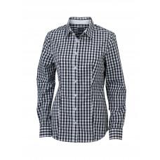 Рубашка женская JN616 Ladies' Checked Blouse - Черный/Белый