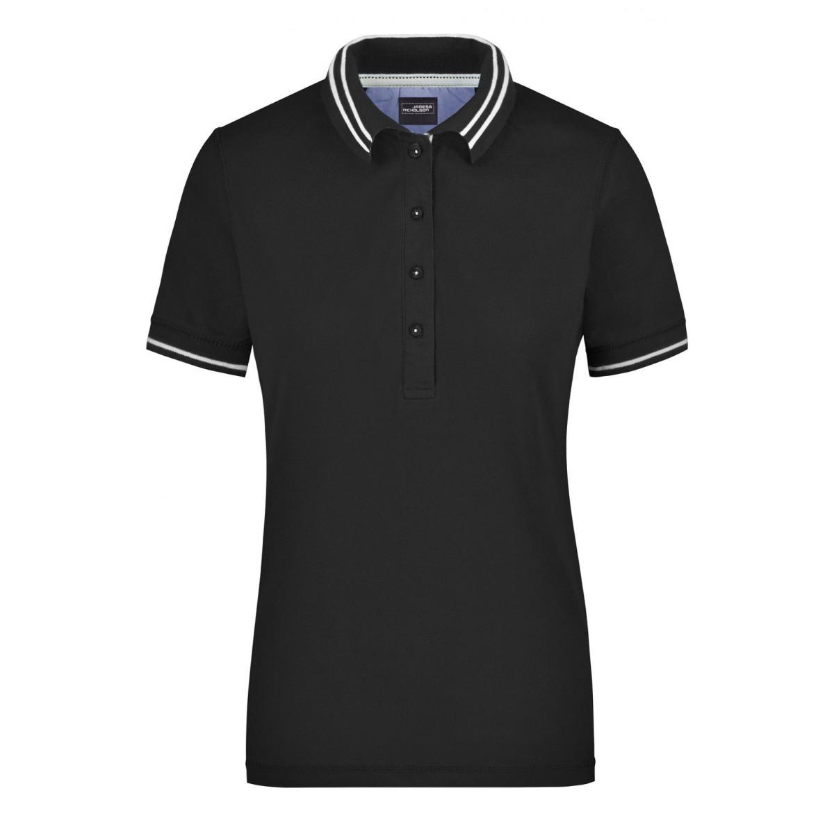 Рубашка поло женская JN946 Ladies Lifestyle Polo - Черный/Белый