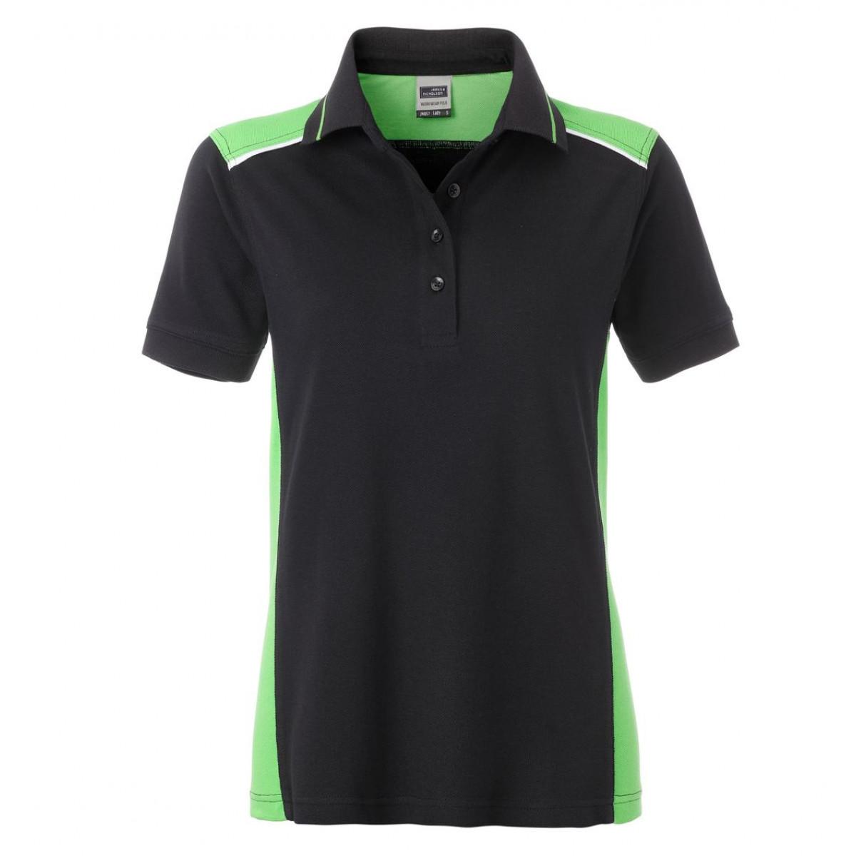 Рубашка поло женская JN857 Ladies Workwear Polo-Level 2 - Черный/Лайм