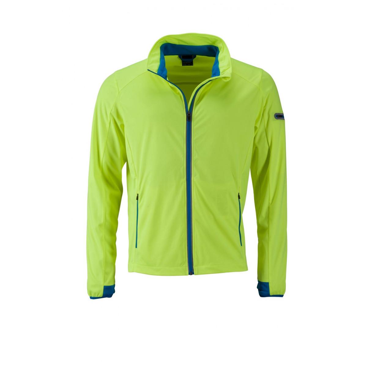 Куртка мужская JN1126 Mens Sports Softshell Jacket - Ярко-желтый/Ярко-синий