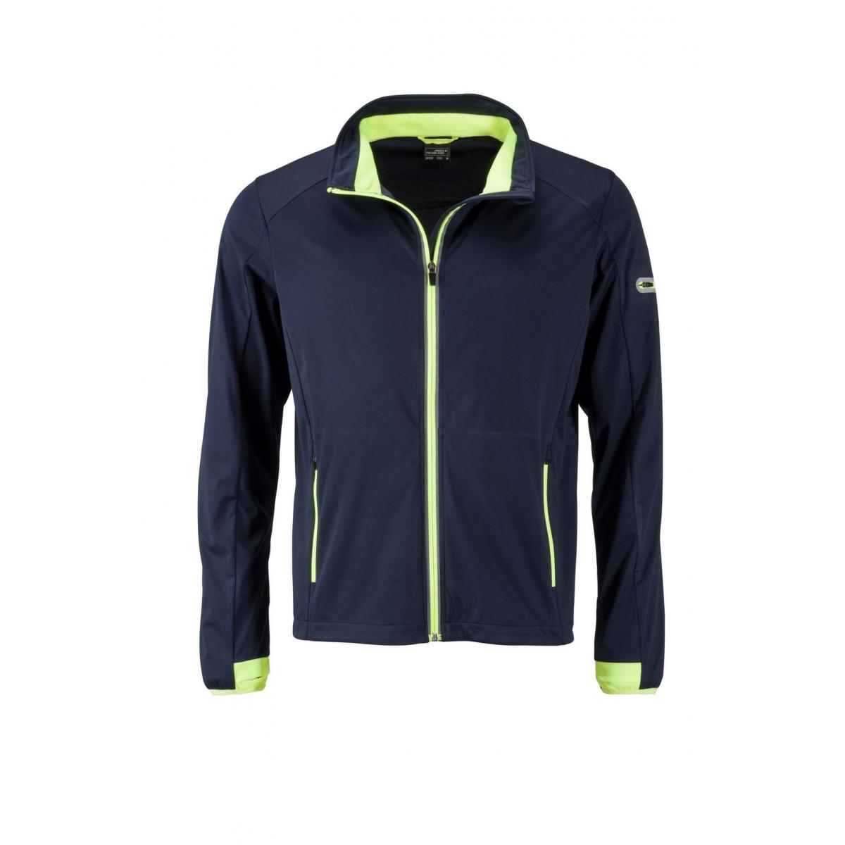 Куртка мужская JN1126 Mens Sports Softshell Jacket - Темно-синий/Ярко-желтый