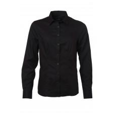 Рубашка женская JN681 Ladies' Shirt Longsleeve Micro-Twill - Черный