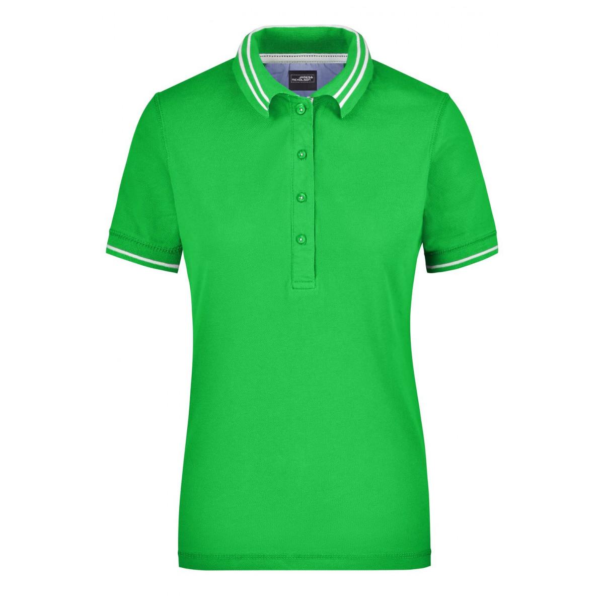 Рубашка поло женская JN946 Ladies Lifestyle Polo - Насыщенный зеленый/Белый