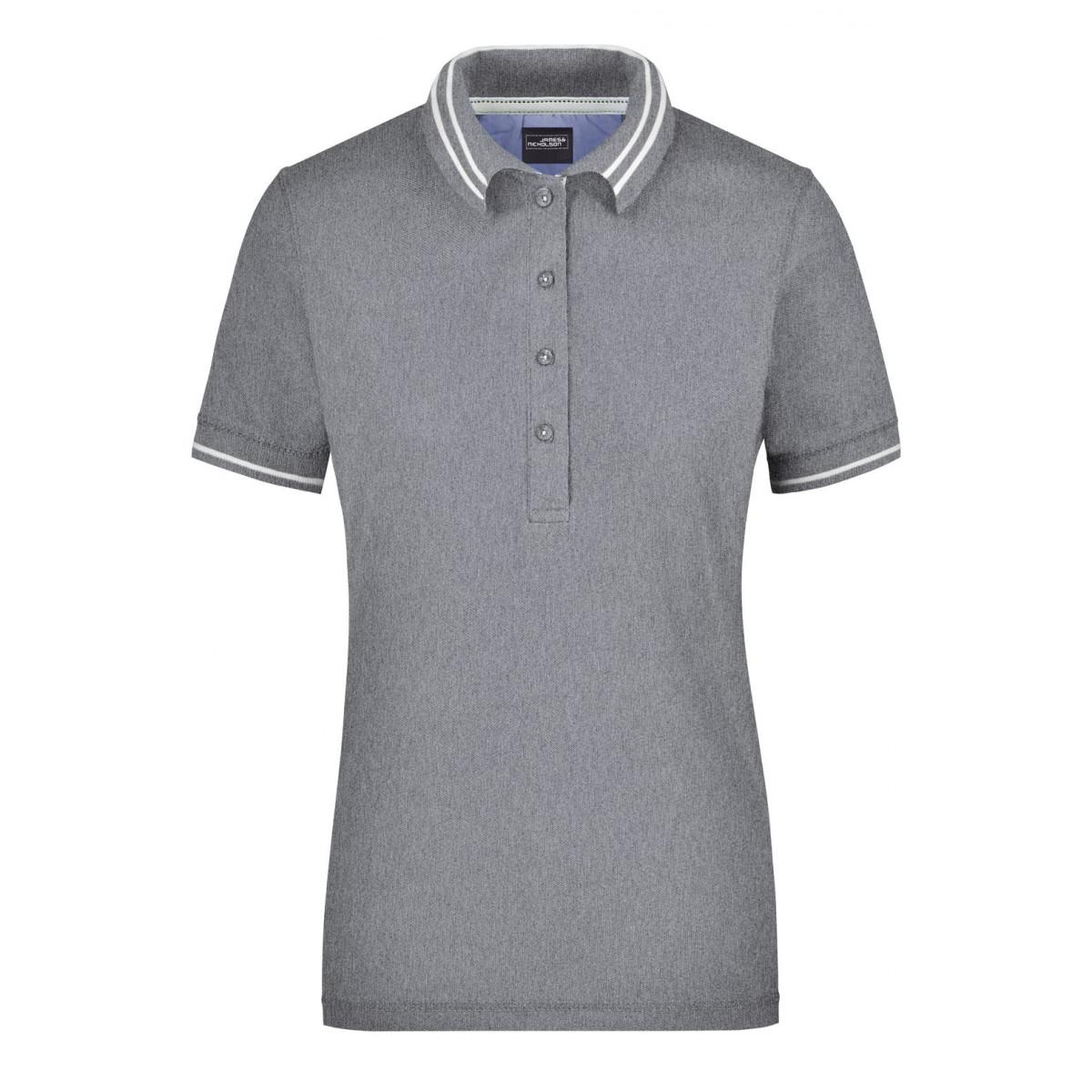 Рубашка поло женская JN946 Ladies Lifestyle Polo - Серый меланж/Белый
