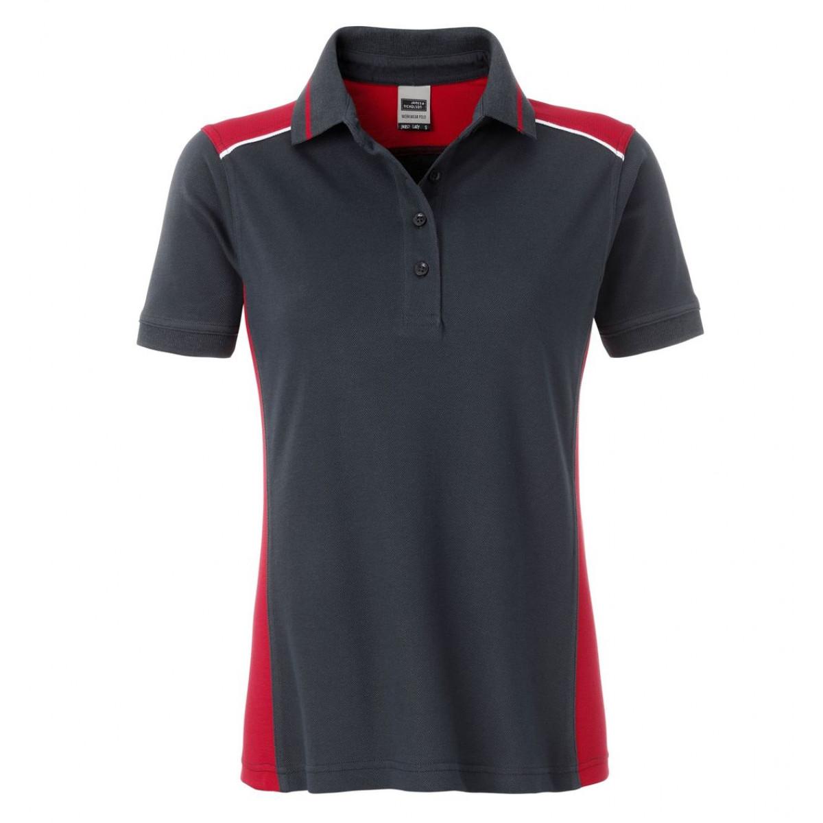 Рубашка поло женская JN857 Ladies Workwear Polo-Level 2 - Темно-серый/Красный