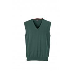 Жилет вязаный мужской JN657 Men's V-Neck Pullunder - Темно-зеленый