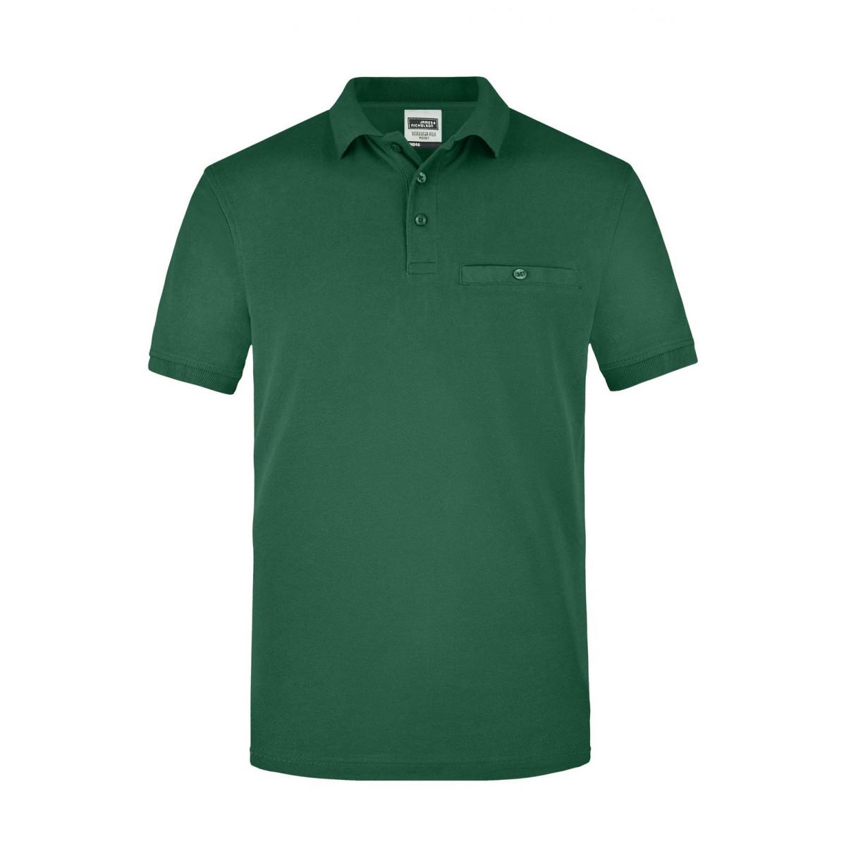 Рубашка поло мужская JN846 Men´s Workwear Polo Pocket - Темно-зеленый
