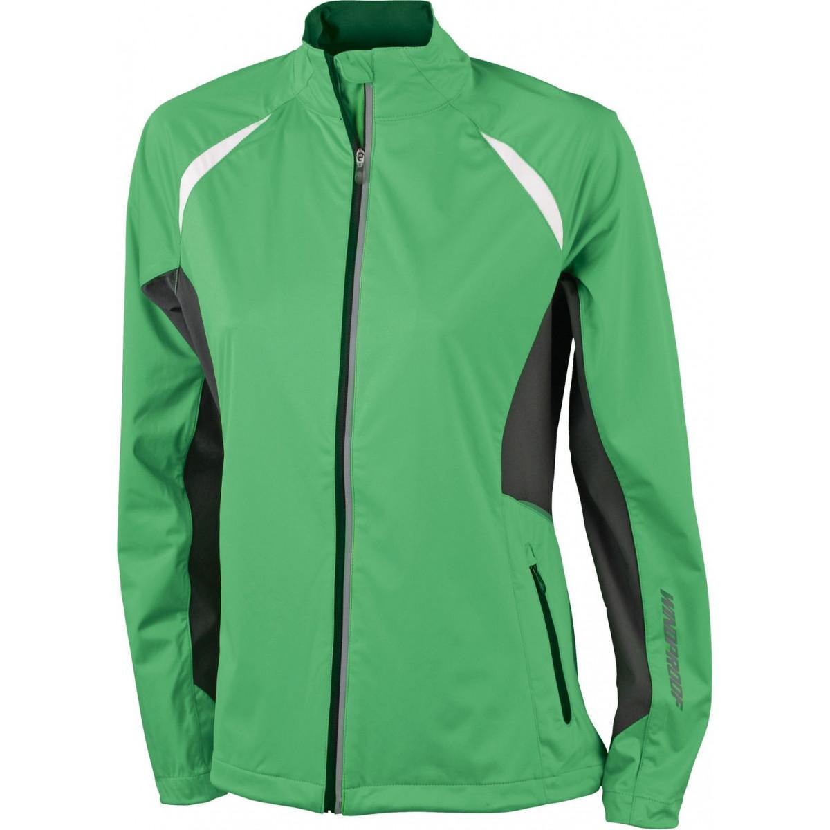 Куртка женская JN439 Ladies Sports Jacket Windproof - Насыщенный зеленый/Темно-серый