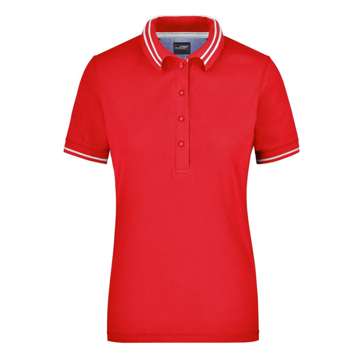 Рубашка поло женская JN946 Ladies Lifestyle Polo - Красный/Белый