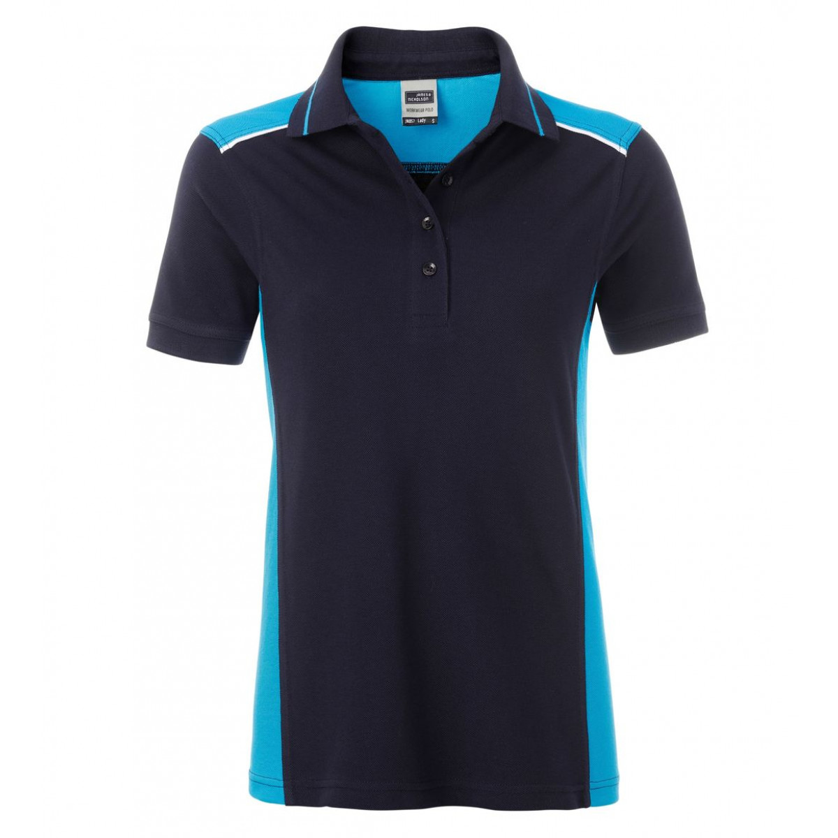 Рубашка поло женская JN857 Ladies Workwear Polo-Level 2 - Темно-синий/Бирюзовый